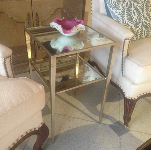 Silver Leaf Side Table with Antique Mirror