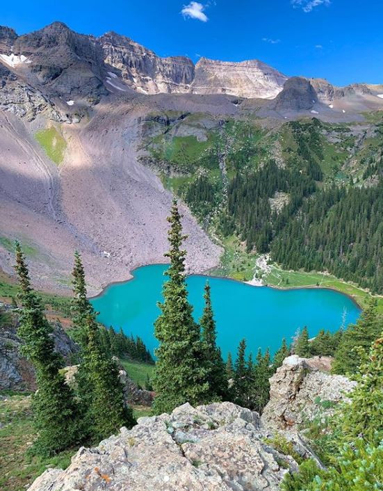 Blue lake trail view from above, Colorado, united states of america