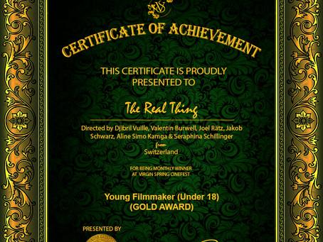 The Real Thing gewinnt Gold für den besten Amateurfilm am Virgin Film Festival in Kalkutta