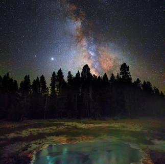 Yellowstone Geyser Milky Way