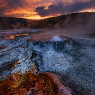 Yellowstone Geyser Sunset