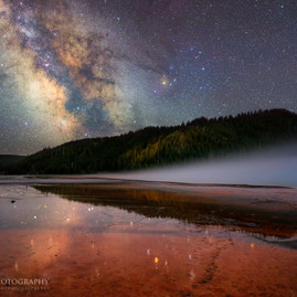 Milky Way Rising at Grand Prismatic Spring