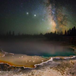 Opal Pool Milky Way Yellowstone