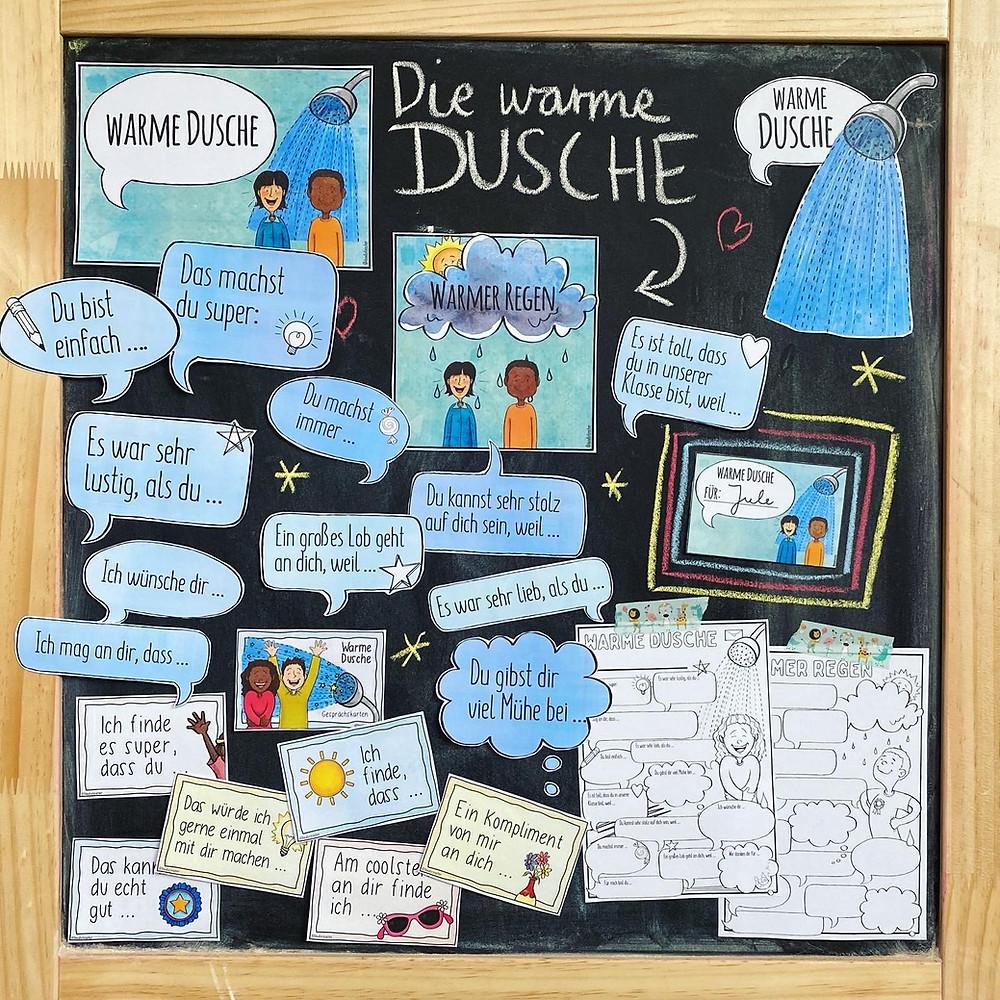 Warme Dusche - Mein Materialpaket, es sind die Poster, der Wandschmuck, die Sketchnotes, Komplimentkärtchen und die Gesprächskarten abgebildet.