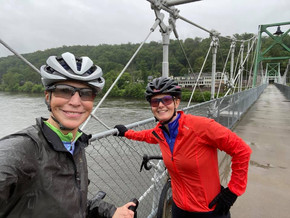 Sarah and Andrea ride together in person