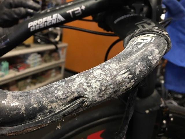 dirty bicycle bars need maintenance
