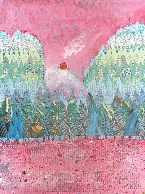 Original mixed media painting - 'House on the Hill'