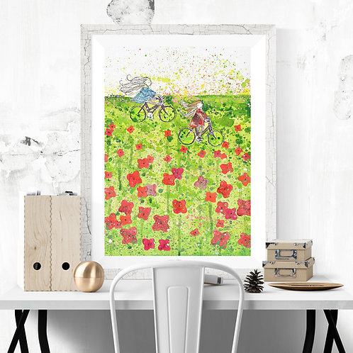 'Poppy Picnic' -Fine Art Giclee Print
