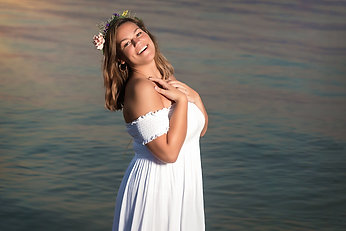 Senior Girl Flower Crown Beach