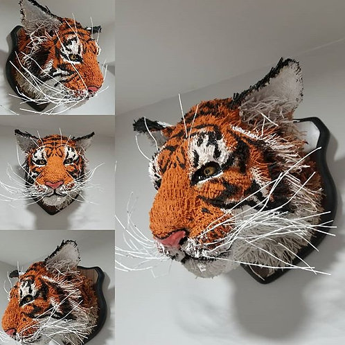 Mounted Burlap Tiger Head