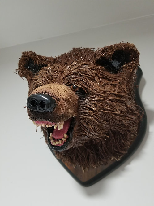 Mounted Burlap Grizzly Bear Head
