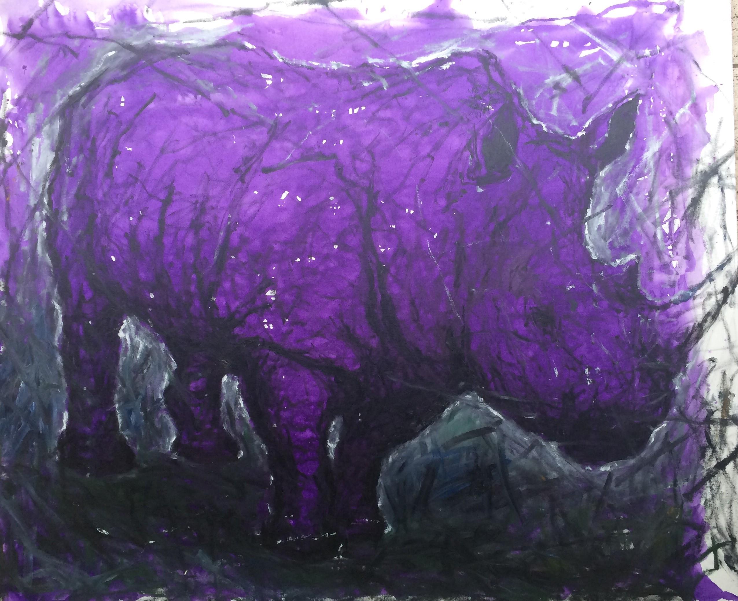 lila Nashorn 140x120 cm