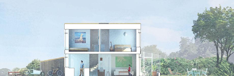 Skovly Bærebo snit igennem rækkehus med_semiprivat forhave og helt privat baghave