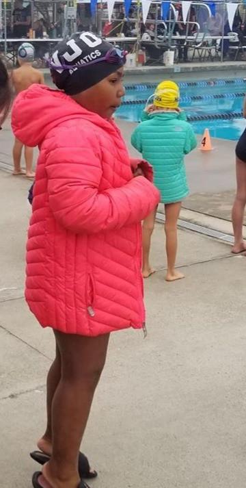 Girl on swim team