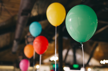 Indoor decoration with balloons for a ba
