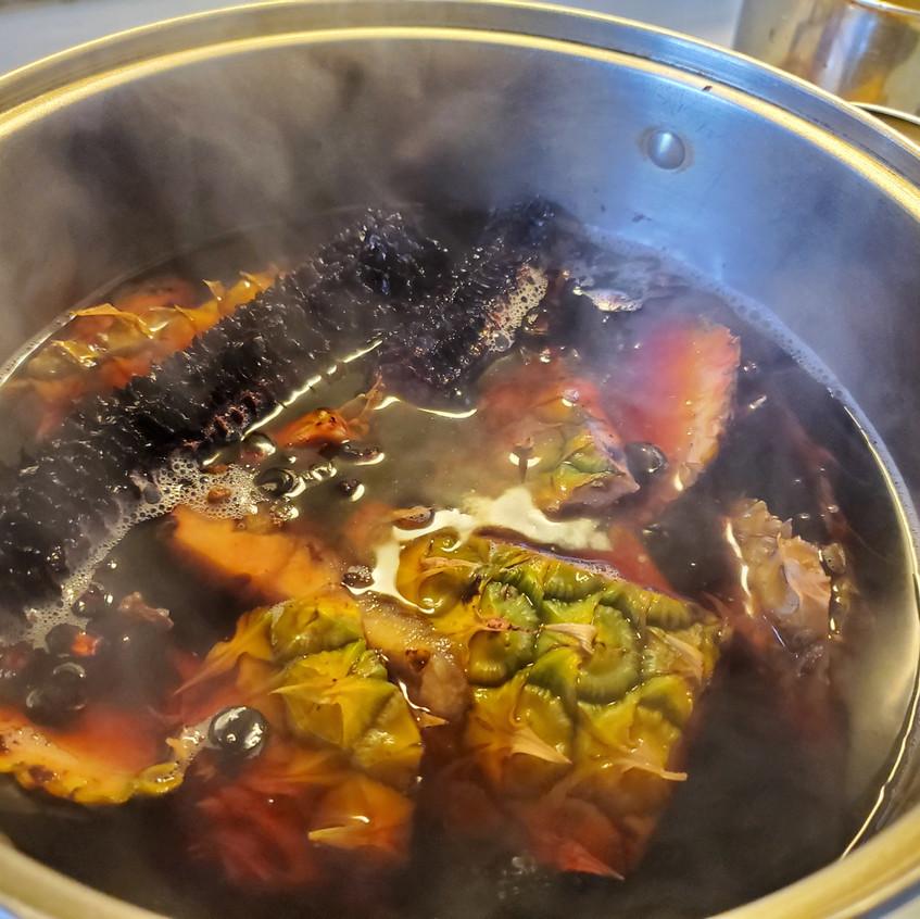 Making chicha morada