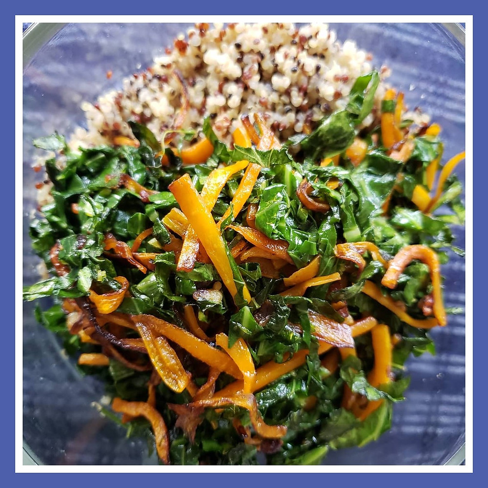 Couve a Mineira with Carrots and Tricolor Quinoa