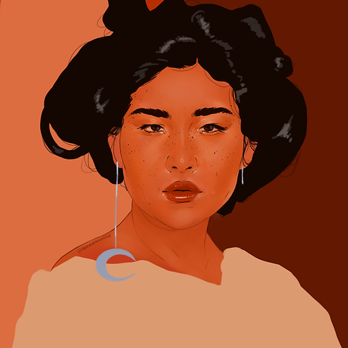 illustration of a woman with a crescent moon earring