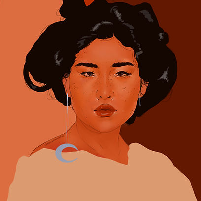 Woman with Moon Earring