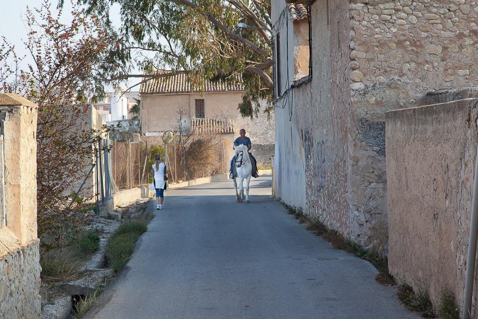 En bonde har tatt hesten fatt for å komme seg frem
