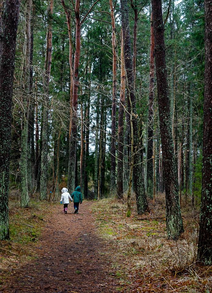 Barn på vei inn i skogen på Nøtholmen ved Strømstad