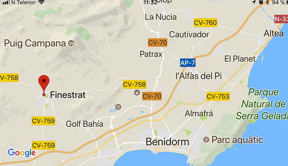 Kart over veien til Finestrat