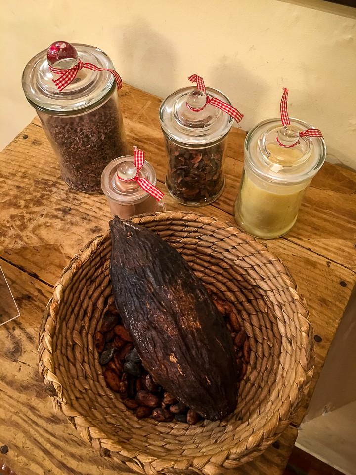 Kakaobelgen med kakaobønner under