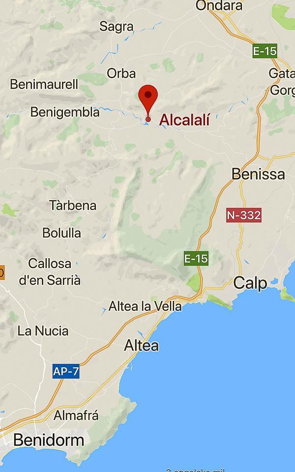 Mapa de Alcalali y Tárbena