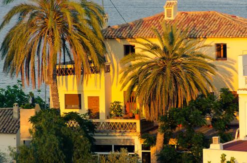 Hacienda i solnedgang