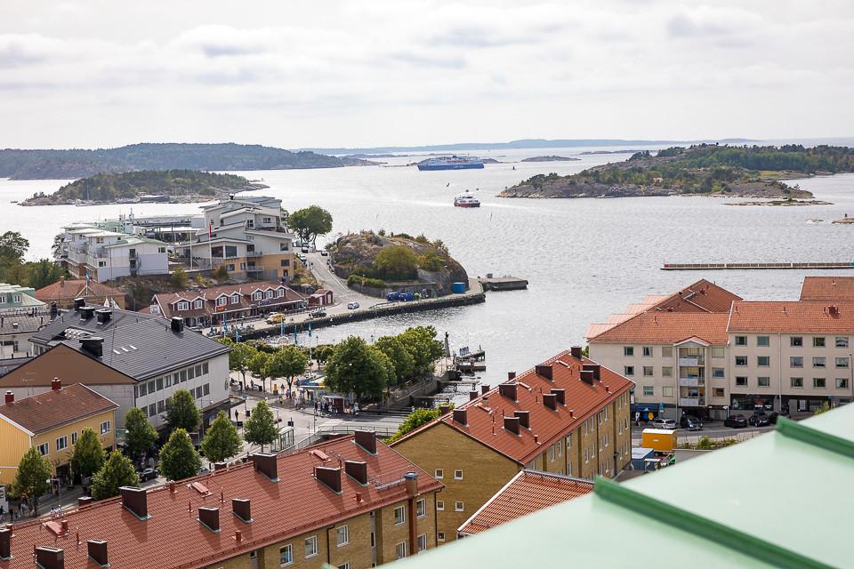 Utsikten fra toppen av Strømstads stadshus