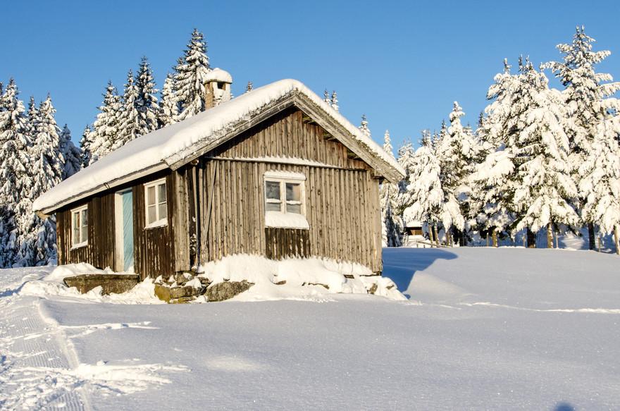 Hytte i vinterlandskap
