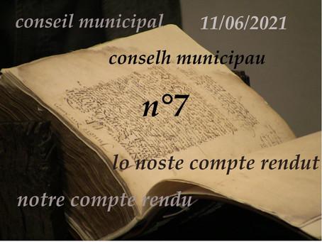 Compte-rendu du Conseil municipal n° 7 11/06/2021 lo noste compte rendut