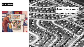 After the war ended, jobs became plentiful, wages were higher,  and Americans became eager to spend.  People moved to the suburbs, started families, and tried to live the American Dream.