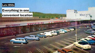 As more and more people moved to the suburbs, fewer Americans could simply walk down the street to do their shopping.  Shopping malls catered to this new, car-driving demographic, which offered consumers the experience of one-stop-shopping.