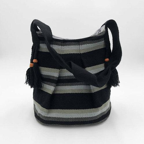 k'uk (Resplendent Quetzal) Bucket Bag Hand-Woven in Black & Grays)