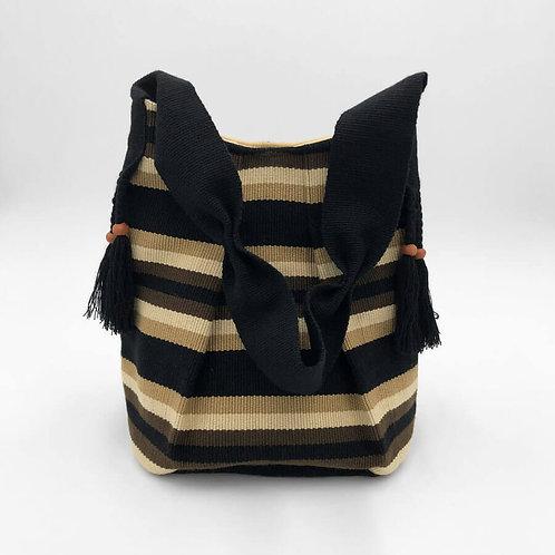 k'uk(resplendent quetzal) Bucket Bag , Hand-Woven in Black, Honey and Beige