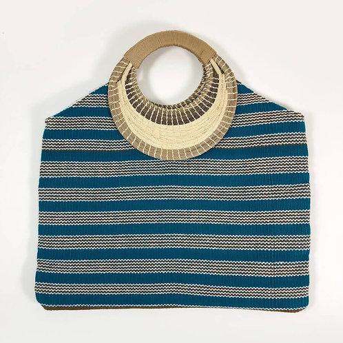k'uc hul tote (teal river stripes)