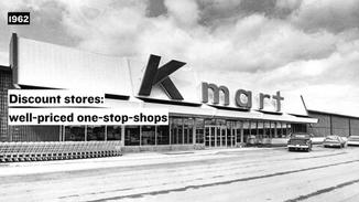 In 1962, Walmart, Target, and Kmart came onto the scene and introduced the concept of the discount store.