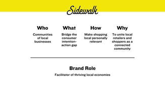 Sidewalk will act as a facilitator of thriving local economies. Just as the sidewalk is the common ground that connects individual businesses to each other and to their community members, the Sidewalk brand will do the same. Sidewalk will strive to make shopping local personally relevant to consumers, moving them from intention, to action.