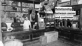 Prior to 1916, grocery stores employed clerks to gather items for customers– a model which created a relationship between the store owner and the customer.