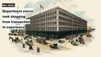 And this made way for the birth of the department store in the mid-1800s, which introduced the activity of browsing. This transformed shopping from a transaction into an experience!