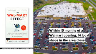 The Walmart effect is a term coined by business journalist Charles Fishman. It refers to the economic impact felt by local businesses when large companies like Walmart open nearby.  One study found that within 15 months of a Walmart store opening, up to 14 stores would close in the same area.