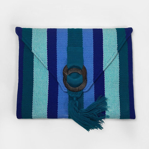bah lam ( Jaquar ) Clutch in Blue, Teal, Dark Green