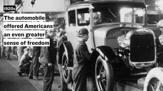 The mainstream adoption of the automobile offered Americans  an even greater sense of personal freedom. Not only could they travel greater distances to get the things they needed, they could bring home more when they went shopping.