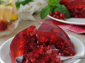 Gelatina de Hibisco com Frutas vermelhas