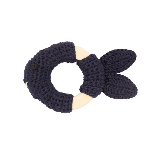 GLOBAL AFFAIRS Crochet Playring Blue Fish