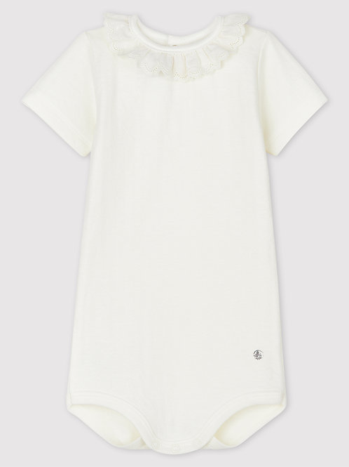 PETIT BATEAU Bodysuit with Eyelet Embroidery and Collar