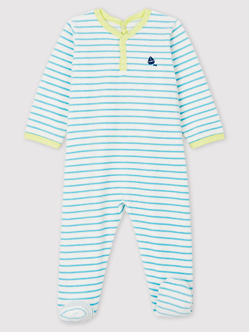 PETIT BATEAU Velours Striped Sleepsuit