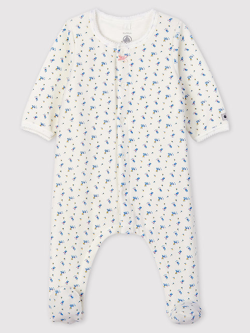 PETIT BATEAU Baby Girls' Floral Print Velour Bodyjama