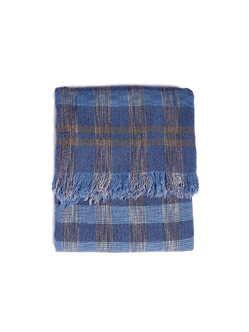 KHADI & CO Space Dyed Check Blanket - Sky